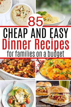 Quick and easy dinner recipes for a family on a budget. These cheap dinner ideas will save you time and money. These easy recipes require few ingredients and are super quick to make. #mealideas #frugalmeals #frugaldinner #cheapmeals Cheap Meals To Cook, Cheap Vegetarian Meals, Cheap Dinners, Frugal Meals, Budget Meals, Vegetarian Recipes, Easy Meals, Easy Dinner Recipes, Easy Recipes
