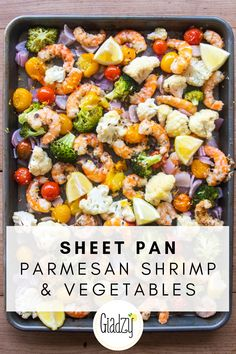Sheet Pan Parmesan Shrimp and Veggies Dinner is one-and-done with this sheet pan shrimp recipe and vegetables. In the warmer months when you don't want to be hanging out over the stovetop, this is a great set-and-forget recipe to turn to! Pan Shrimp Recipe, Shrimp Recipes, Fish Recipes, Shrimp Meals, Shrimp And Vegetables, Veggies, Clean Eating Snacks, Healthy Eating, Comida Latina