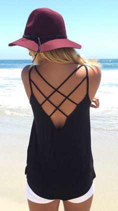 Black spaghetti strap backless cami top