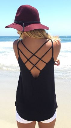 Black spaghetti strap backless cami top