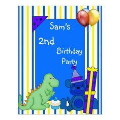 2nd Dinosaur Cupcake Balloon Stripe Birthday Blue