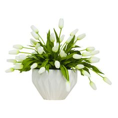 Lux Art Silks White Tulips Faux Flower Arrangement (€455) ❤ liked on Polyvore featuring home, home decor, floral decor, tulip arrangement, white home decor, white home accessories, white fake flowers and silk tulip arrangement