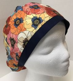 814887838ad Floral size: Sm/Med Medical Slim Lid OR Scrub Cap Surgical Surgery Hat #
