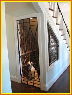 Under the stairs wine room & dog house. So now I know that I need a house because this is just too good of an idea not to do. Stair Layout, Dog Spaces, Stair Storage, Wine Storage, Storage Under Stairs, Staircase Storage, Storage Area, Dog Rooms, Dog Houses
