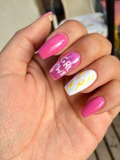 May 2020 - Long Acrylic Nails thunderbolt white pink Girl Power GRL PWR. Cute Spring Nails, Spring Nail Colors, Summer Nails, Cute Nails, Pretty Nails, French Manicure Gel Nails, Nail Polish, Pink Nails, Long Acrylic Nails