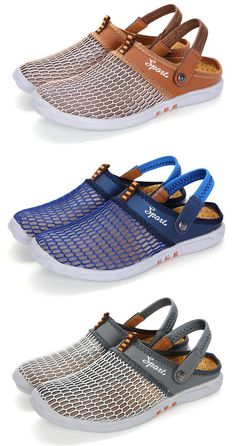 Men Mesh Breathable Adjustable Heel Strap Backlees Casual Shoes#shoes #style #beach #summer