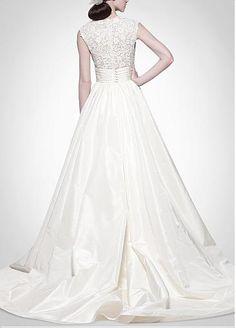 Elegant Exquisite Taffeta & Lace A-line V-neck Wedding Dress
