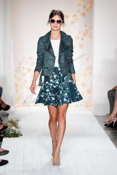 10 Ways to Wear Dark Florals: LC Lauren Conrad Runway Dark Floral Scuba Skirt & Green Bomber Jacket