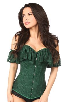 The Lavish Premium Emerald Lace Off-The-Shoulder Corset features a full bust corset made of high-quality satin with lace net overlay, premium front busk clos. Green Corset, Lace Corset, Green Lace, Pink Corset, White Corset, Vintage Corset, Corset Belt, Leather Corset, Dress Vintage