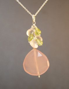 Necklace 1-33 Cluster of faceted cherry quartz and peridot with large rose chalcedony