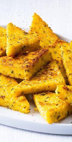 Polenta herb corners – Famous Last Words Polenta, Benefits Of Potatoes, Shrimp Recipes For Dinner, Vegan Recipes, Cooking Recipes, Good Food, Yummy Food, Brunch, Lunch Snacks