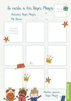 Carta a los Reyes Magos de Hop'Toys para pegar las fotos, recortar y preparar el collage esta Navidad