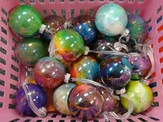 Student created Christmas balls, Clear balls and acrylic paint  Easy and hand made.