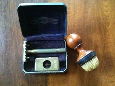 Rare Antique Gillette Razor Set In Case with old blades..and a brush ca 1920?