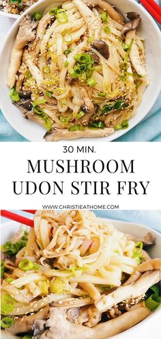 Mushroom Udon Stir Fry. Savoury, chewy noodles paired with black oyster mushrooms, scallions and napa cabbage. A perfect dish for dinner.   This mushroom udon noodle stir fry is so easy to make and only requires 30 minutes of your time! Asian Noodle Recipes, Stir Fry Recipes, Asian Recipes, Savoury Recipes, Veggie Recipes, Healthy Recipes, Bacon Stuffed Mushrooms, Stuffed Peppers, Dinner Dishes