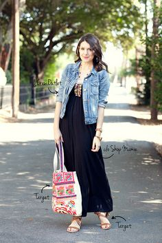 denim jacket, maxi dress, black dress   5.23.12 by kendilea, via Flickr