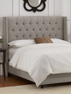 Diamond Tufted Wingback Headboard with Nailhead Trim by Platinum Collection by SF Designs on Gilt Home