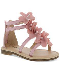 Nina Little Girls' Back-Zip Flower Sandals