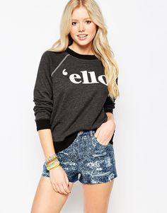 Wildfox 'Ello Kim's Long Sleeve Sweater