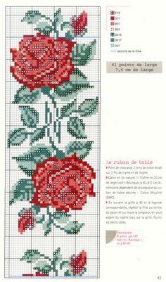 Crochet beautiful and very easy rose - Salvabrani Cross Stitch Floss, Easy Cross Stitch Patterns, Cross Stitch Bookmarks, Beaded Cross Stitch, Simple Cross Stitch, Cross Stitch Charts, Cross Stitch Designs, Cross Stitch Embroidery, Embroidery Patterns