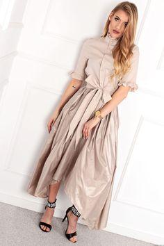 Sukienka Aleks z łączonych materiałów -beż Retro Fashion, Boho Fashion, Duster Coat, Dresses With Sleeves, Shirt Dress, Long Sleeve, Jackets, Shirts, Style