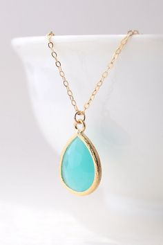 Turquoise / Gold Teardrop Necklace Turquoise by ForTheMaids