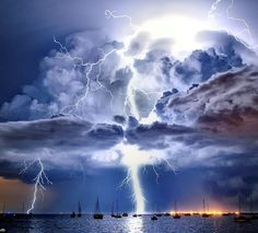 Lightning illuminates a cumulonimbus cloud over Corio Bay, Victoria Australia. Photograph from Australian Weather Bureau.