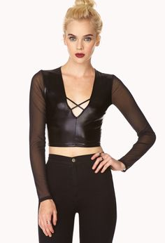 Liquid Crop Top   FOREVER21 Crop it off! #FauxLeather #WishPinWin @FOREVER™ 21 #ForeverHoliday