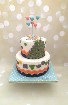 Neutral baby shower theme cake  Chevron design , hearts, balloons, grey color, orange, blue, edible baby all in one cake 💕