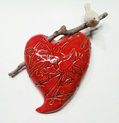 Dimensional Wall Heart with Bird 9 inchUntitled Slab Pottery, Ceramic Pottery, Pottery Art, Pottery Handbuilding, Ceramic Birds, I Love Heart, Fire Heart, Heart Wall, Pottery Designs