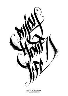 Black & White Calligraphy /// von Alexis Persani, via Behance- – tattooideen Graffiti Text, Graffiti Lettering Fonts, Graffiti Tattoo, Tattoo Lettering Fonts, Font Art, Lettering Styles, Lettering Design, Hand Lettering, Calligraphy Letters