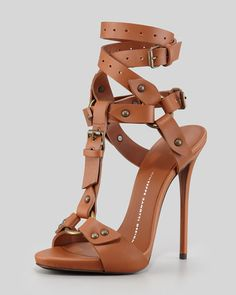 0930a63746f9 Giuseppe Zanotti - Ankle-Wrap T-Strap Leather High-Heel Sandal