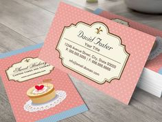 Custom Cakes and Cookies Dessert Bakery Shop Business Card Templates. You can customize this card with your own text, logo, photo, or use this pre-existing template for FREE. Bakery Business Cards, Business Cards Online, Cake Business, Custom Business Cards, Business Card Design, Food Truck, Arts Bakery, Bakery Shops, Visiting Card Design