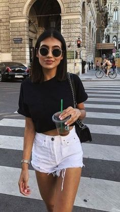 45 Perfect Outfits For Summer Break - Wass Sell Summer Outfit For Teen Girls, Trendy Summer Outfits, Womens Fashion Casual Summer, Women's Summer Fashion, Cute Casual Outfits, Look Fashion, Summer Clothes, Summer Fashions, 80s Fashion