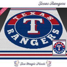 Texas Rangers by Two Magic Pixels Afghan Patterns, Crochet Blanket Patterns, Cross Stitch Patterns, Crochet Ideas, Tapestry Crochet, C2c Crochet, Crochet Afghans, Crochet Flower, Crochet Blankets