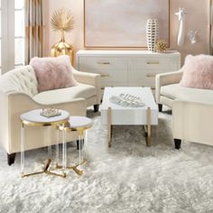Novel Small Living Room Design and Decor Ideas that Aren't Cramped - Di Home Design Living Room Furniture, Living Room Decor, Bedroom Decor, Gold Furniture, Gold Bedroom, Bedroom Ideas, Dining Room, Interior Design Living Room, Living Room Designs