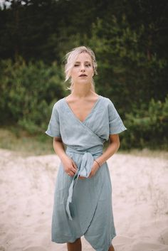 Loose wrap linen dress / Maternity linen dress / Linen dress /