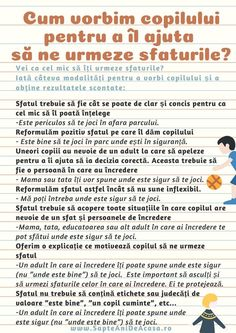 #Parenting #descarcă #Infografic #copii #părinți #comunicare #eficientă Cum vorbim copilului pentru a îl ajuta să ne urmeze sfaturile? (Infografic) Kindergarten Activities, Infant Activities, Activities For Kids, Kids And Parenting, Parenting Hacks, Positive Discipline, Teaching Materials, School Counseling, Raising Kids