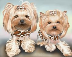 Yorkies Bindy and Pebbles- Custom art by Catia Cho