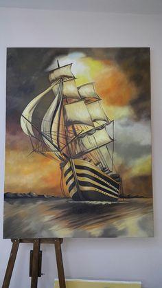 100x110 cm oil painting  handmade. Warship