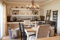 Love this, mix of black white, vintage, farm table against the wall makes a great serving table/space