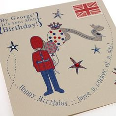 Handmade 80th Birthday Card - British Beefeater - 'By George! It's your 80th Birthday!' Buy Here: http://thehandcraftedcardcompany.co.uk/cardcrafts/8143-tickety-boo.asp?refid=8163
