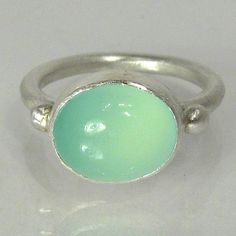 Sea Foam Green Chalcedony Cocktail Ring, Sterling Silver