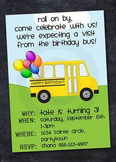 SCHOOL BUS Invitation  ABC Birthday Retirement by ReneesSoirees, $10.00