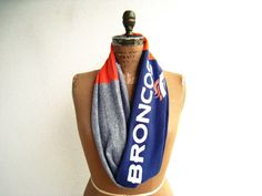 Denver Broncos T Shirt Infinity Scarf / Orange Gray Blue by ohzie