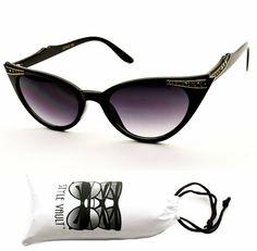 Wm16-vp Cateye Vintage Retro Rhinestone Sunglasses Womens