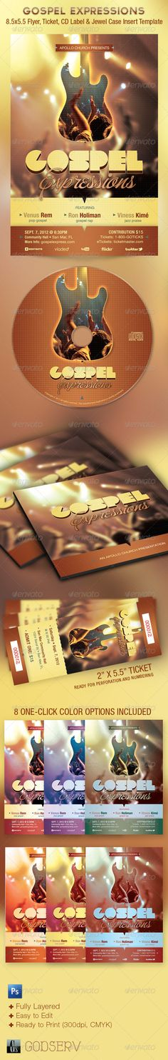 Gospel Expressions Flyer, Ticket and CD Template - Church Flyers