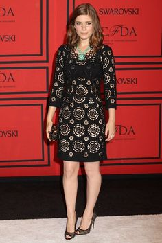 Kate Mara in a Dolce & Gabbana dress and Brian Atwood heels.