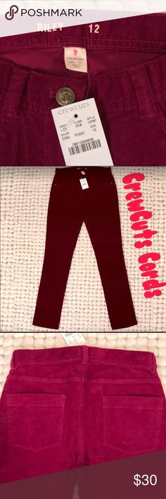NWT Girls CREWCUTS Sz. 12 Cords NWT Girls CREWCUTS Sz. 12 Burgundy Cords (the second pic is closest to color). Still being sold on jcrew.com for $59.95. Great deal! J. Crew Bottoms Casual