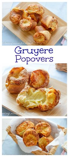 Easy to make and even easier to eat - Gruyere Popovers are served warm from the oven and are a wonderful treat! Side Dishes Easy, Side Dish Recipes, Popover Recipe, Incredible Edibles, Appetizer Dips, Dinner Rolls, Dessert Recipes, Desserts, Bread Baking